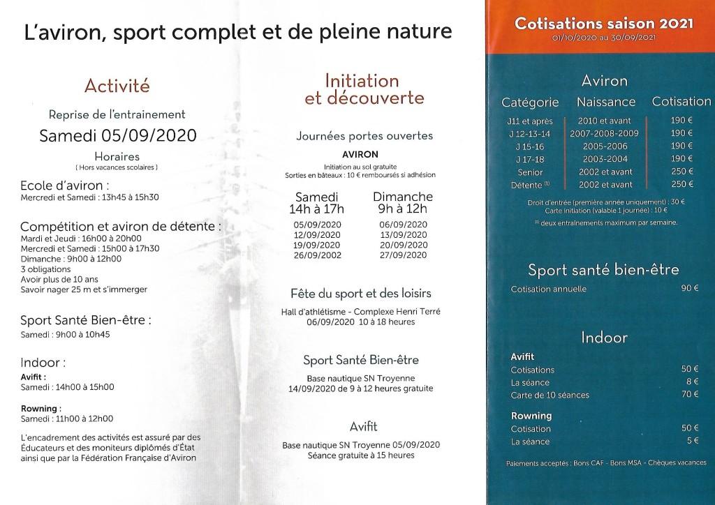Reprise – 05 Sept 2020 – Saison 2021